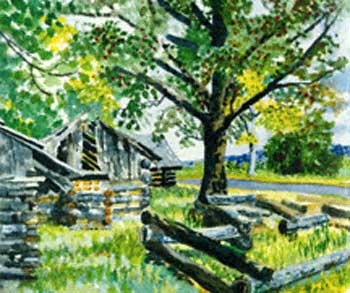Cabins at Valley Forge, Valley Forge, Pennsylvania (Original Watercolor)